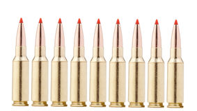 Balles de fusil sur le blanc Photographie stock