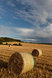 Balles de paille sur des terres cultivables Photo libre de droits