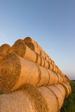 Balles de paille sur des terres cultivables Balle de paille Straw Bales Balles de paille de foyer sélectif empilées sur la pile Images stock