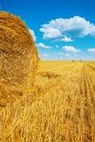 Balles de paille sur le champ de blé moissonné photo stock