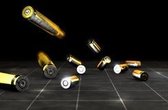 Balles et coquilles d'une arme à feu Munitions d'arme ? feu sur un fond noir illustration de vecteur