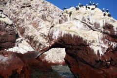 Ballestas arch. A rock arch at ballestas Island in peru Stock Photos