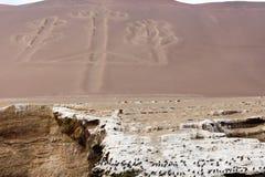 Ballestas Candelabrum Mark. Ancient large-scale geoglyph Candelabrum figure in Paracas national park Royalty Free Stock Photo