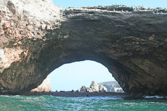 Ballestas cave. A view of the ballestas Island in peru with sea lions Royalty Free Stock Photos