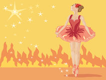 Ballet. Hand drawn illustration of a ballet dancer on stage with lights and fire on a pale yellow background Stock Image