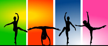 Ballet. Dancers against colored banners Royalty Free Stock Photo
