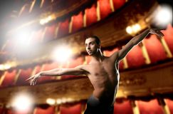 Ballet. A dancer in a big theater Royalty Free Stock Photos