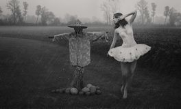 Ballet. Dancer with the scarecrow stock image