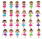 Ballet Als thema gehade Vectorinzameling met Diverse Meisjes royalty-vrije illustratie