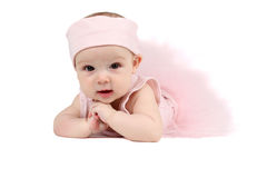 Ballet Baby. Baby girl wearing a ballet outfit and legwarmers Royalty Free Stock Photo
