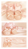 Ballet baby shoes. Images with ballet shoes for banners, cards or backgrounds stock photos