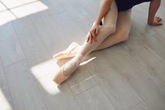 Free Ballet. Ballerina. Legs Of A Ballerina On The Floor In A Studio Class. Stock Image - 188526771