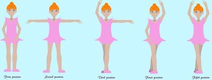Ballet basics. Set of ballet basics practicing cute  girls Stock Images