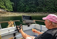 A man eating a hot dog on the back of his boat as his pet dog looks on with pleading eyes. Ballet Bay, Sunshine Coast, British Columbia, Canada - July 1st, 2018 stock photography