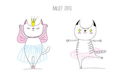 Ballet cats. Hand drawn vector doodles of cute funny cats dancing ballet, with text. Isolated unfilled outlines. Isolated unfilled outlines. Design concept for vector illustration