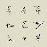 Ballet Chinese brush icon drawing Stock Photography