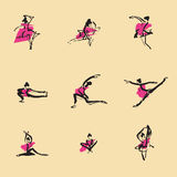 Ballet Chinese brush icon drawing Stock Images