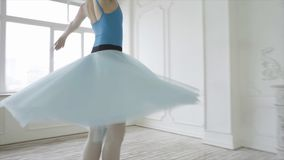 Ballet clásico de Performs Elements Of del bailarín hermoso de la muchacha en el diseño del desván Baile femenino del bailarín de imagen de archivo