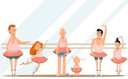 Ballet class/Fun with Dad/Cute little daughters and their  young dads in skirts are dancing in ballet studio and smiling. Illustration of Ballet class/Fun with Stock Image