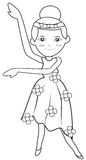 Ballet coloring page vector illustration