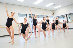 Ballet Dance Class. Young ballet dancers in the studio stock photos