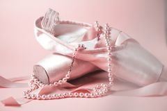 Ballet dance shoes. On pink background Royalty Free Stock Photos