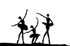 Ballet dance silhouette. White background Stock Photos