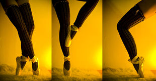 Ballet Dancer. Legs in a dance sequence stock photography