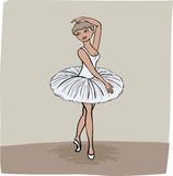 Ballet dancer. Vector illustration young girl performing on stage at ballet show or dancing schoool in white dress standing on her toes Royalty Free Stock Images