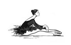 Ballet dancer. Black and white drawing Stock Photos