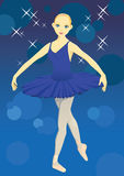 Ballet dancer. The ballerina in a dark blue dress Royalty Free Stock Photography