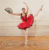 Ballet Dancer. Beautiful young woman practicing her routine in the studio royalty free stock image