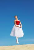 Ballet dancer on beach stock photography