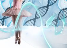 Ballet dancer with blue lights and DNA chains Stock Images