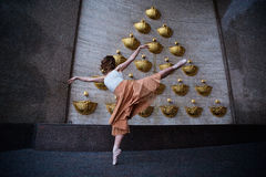 Ballet dancer on the city street stock photography