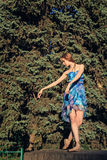 Ballet dancer dancing outdoors at park. Royalty Free Stock Photography
