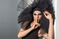 Ballet dancer with dark makeup royalty free stock photography