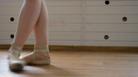 Ballet dancer`s legs on pointe stock video
