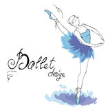 Ballet Dancer, drawing in watercolor style Royalty Free Stock Images