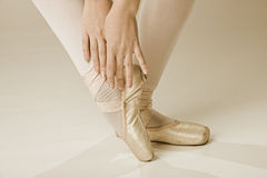 Ballet dancer feet - gold Royalty Free Stock Photo