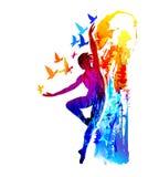 Ballet dancer fitness, aerobics. Rhythmic gymnastics. Vector illustration. Ballet dancer with flying birds. Rhythmic gymnastics. Dark futuristic colourful vector illustration
