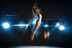 Ballet dancer fly on stage in theater Stock Photo