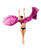 Ballet dancer in the flying dress Royalty Free Stock Image