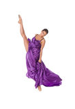 Ballet dancer in flying satin dress Stock Images