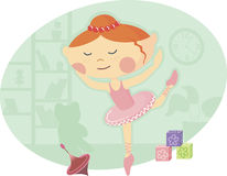 Ballet dancer. Funny vector illustration little girl dancing in the costume of a ballerina Royalty Free Stock Photography
