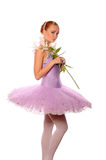 Ballet dancer hold lily Royalty Free Stock Photos
