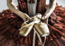 Ballet dancer. Holding her ballet shoes.2012-05-24 Royalty Free Stock Photography