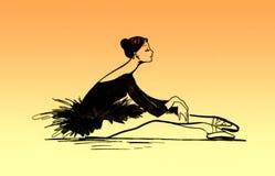 Ballet dancer illustration. Sitting on the floor Stock Photography
