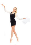 Ballet dancer in the image of a business woman Royalty Free Stock Photos