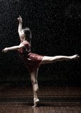 Ballet Dancer In The Rain Royalty Free Stock Photography
